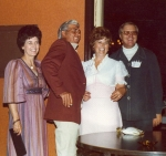 Thelma McLain, Bill Cole, Lois and Swede Waller enjoy visiting during the reunion.