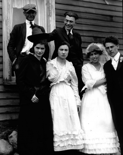 Wilford and Marie Cole and their wedding party enjoy the day in Plentywood, Montana in 1920.