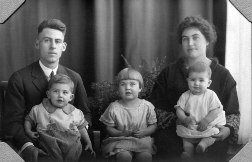 Wilford and Marie Cole and their children, Bill, Thelma, and Dick, in Havre, Montana in 1926.