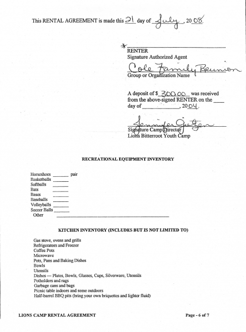 Rental Agreement Pg. 6 of 7