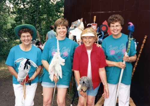Thelma McLain, Linda Fossen, Lois Waller and Della Pimley ride their horses during Camp Cole in the Bear Paws in 1994