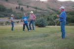 The Kallenberger family practices for the next rodeo.