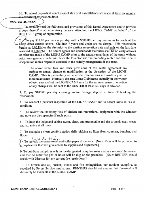 Rental Agreement Pg. 2 of 7