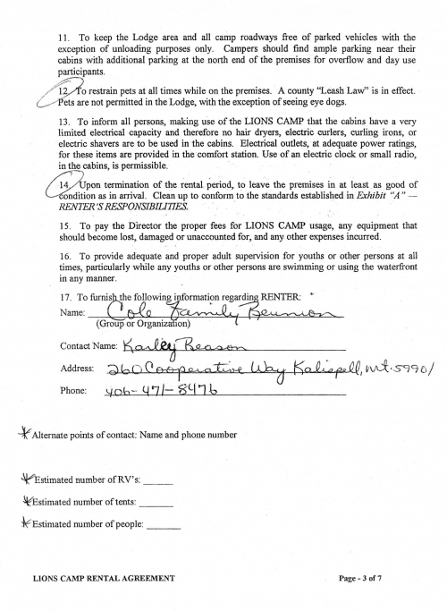 Rental Agreement Pg. 3 of 7